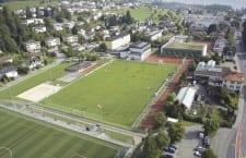 Das Zentrum von Meggen mit der Schul- und Sportanlage Hofmatt. Bild zVg