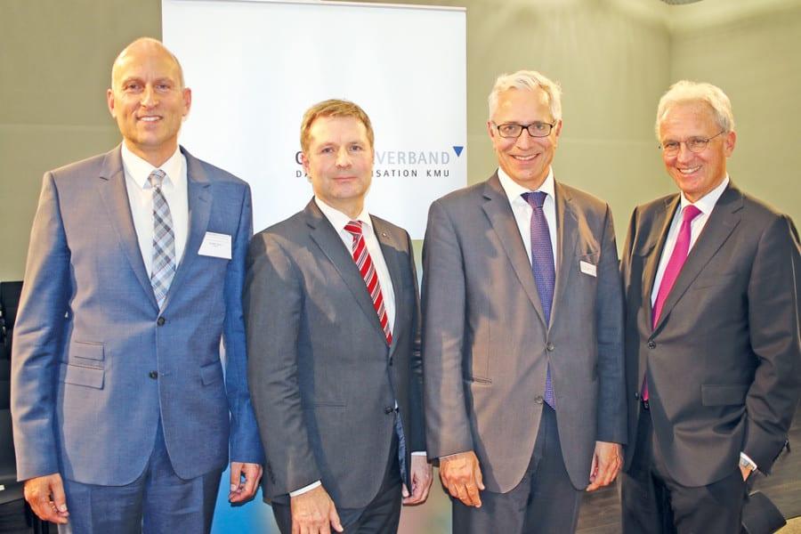 Gastgeber Gaudenz Zemp vom KGL und die drei Key-Referenten Marcel Schwerzmann, Henri Gétaz und Hans-Ulrich Bigler.