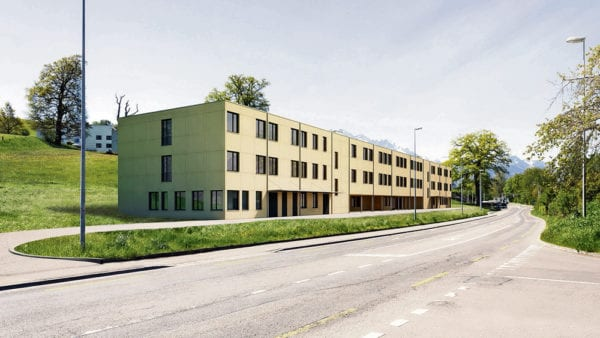 Das provisorische Alterszentrum in Modulbauweise an der Oberschachenstrasse. Bild zVg.