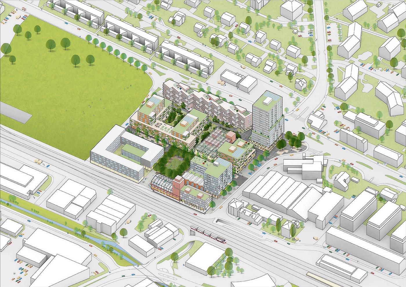 Im neu geplanten Quartier «Qube» soll in Ebikon ab 2021 ein eigentliches Stadtzentrum für Wohnen, Gewerbe und Dienstleistungen entstehen. Bild zvg.