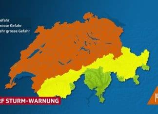 Die Sturmwarnung betrifft die gesamte Alpennordseite. Bild SRF Meteo.