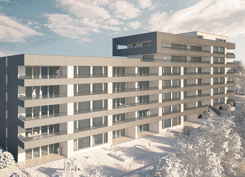 Die Visualisierung der Gebäude Schachenweidstrasse 22a-c. Bild zVg.